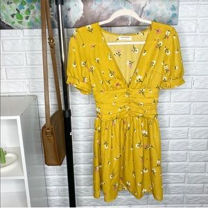 Urban Outfitters Yellow Floral Mini Dress